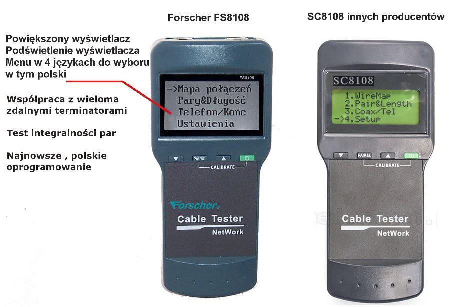tester sieci internetowej z pomiarem długości przewodu fs8108